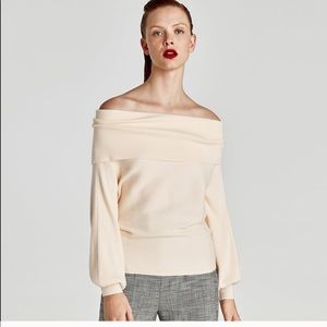 Zara Ribbed Off The Shoulder Sweater